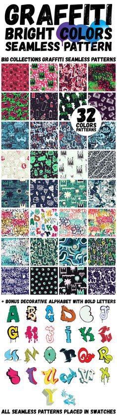 Graffiti color seamless patterns by Vanzyst on @creativemarket