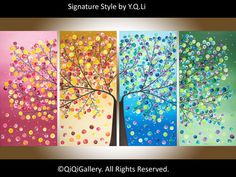 """Made To Order -72"""" Huge Abstract Landscape Valentine's day gift four seasons Tree Office Wall Decor """"365 Days of Happiness"""" by qiqigallery"""