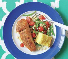 Halibut With Raw Corn, Green Bean, and Tomato Succotash
