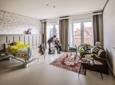 Willibrord nursing home Interior, Middelburg Elderly Day Care, Elderly Home, Commercial Interior Design, Commercial Interiors, Home Interior Design, Jm Barrie, Assisted Living Facility, Hospital Design, Senior Home Care