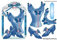 pretty blue vintage basque and Shoes in lace frame on Craftsuprint - Add To Basket!