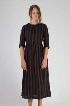 Linen-Dress-Brown-and-Black-Stripe-Full-Length-Fall-Winter-Pyne-and-Smith-Model-14-Style-14101-006-01.jpg