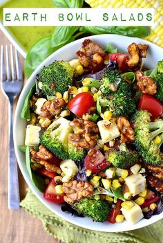Earth Bowl Salads with Smokey Candied Walnuts & Basil Vinaigrette via Iowa Girl Eats