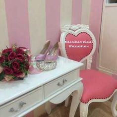 Meja Belajar Pink love _ Meja Gallery putih-1