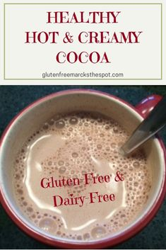 Break Time: Smooth & Fabulous Hot Chocolate Sit back and enjoy your own cup of gluten-free, dairy-free healthy & creamy hot cocoa. A definite treat on a cold winter day! Dairy Free Hot Chocolate, Hot Chocolate Mix, Hot Chocolate Recipes, Vegan Hot Cocoa Recipe, Dairy Free Treats, Dairy Free Recipes, Dairy Free Breakfasts, Healthy Breakfasts, Hot Cocoa Mixes