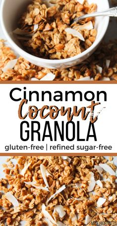 This homemade Cinnamon Coconut Granola is a healthy, gluten-free, refined sugar-free snack or breakfast. A great, easy DIY to make your granola at home, rather than buying it at the store. Low Sugar Granola, Gluten Free Granola, Granola Recipe With Coconut, Homemade Sugar Free Granola, Healthy Homemade Granola, Cinnamon Granola Recipe, Home Made Granola Healthy, Diy Granola Recipe, Grain Free Granola