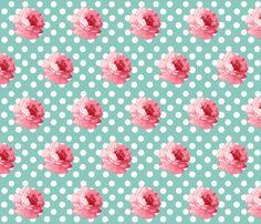 Vintage Teal Flowers fabric by a_joyful_riot on Spoonflower - custom fabric