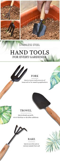 Essential hand tools every gardeners should own: a trowel, a hand fork and a hand rake. Click to buy this stainless steel 3-piece tool set at Newchic.com