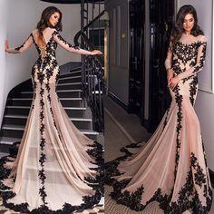 Glamorous Long Sleeve Black Lace Evening Dress 2016 Mermaid Lace-up Back