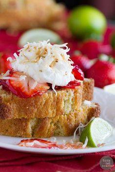Strawberry Lime Shortcakes with Coconut Cream : Slices of perfect sour cream pound cake are topped with strawberries soaked in a lime syrup and a light coconut cream in this perfect summertime dessert.