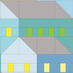 (7) Name: 'Quilting : Hillside Houses QAL Blocks 8 and 9