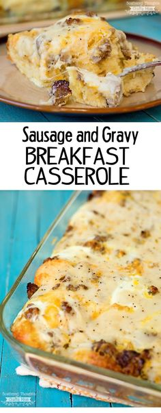 Sausage, Gravy and Biscuit Breakfast Casserole recipe. This breakfast dish is perfect to double for large groups and can be assembled the night before for practically no morning prep.