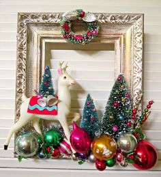 Image of BIG Vintage Wooden Frame Full of Christmas Cheer