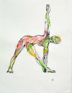 Trikonasana, watercolor and ink on paper, by boryanafineart.com