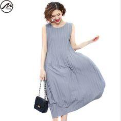 MIWIMD Large Size Women's Summer Dresses 2017 New Fashion Casual Loose Patchwork Folding Sleeveless Vest Vintage Long Dress #Affiliate