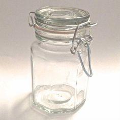 Mini Hexagon Glass Favour Jar Attached Lid