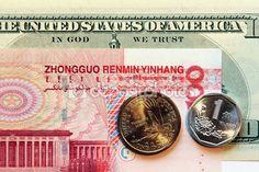 banconote di foto macro originale da usa e Cina — Foto Stock © frizio #80602264