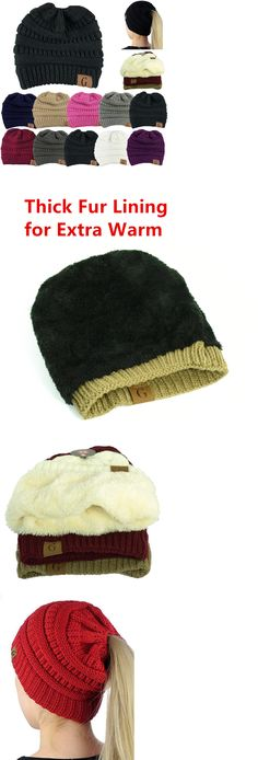 0ceab717603d1b Hats 45230: Women Beanietail Messy Bun Ponytail Knitted Beanie Skull Winter  Hat Lot ->