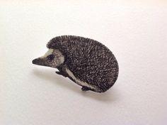 Hedgehog illustrated brooch. Shrink plastic. by Slumbermonkey