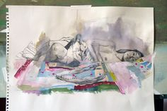 Kent Williams - sketch with graphite and watercolor