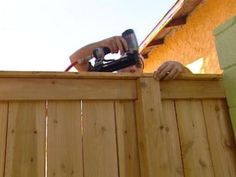 How to Build a Cedar Fence DIYNetwork has instructions on how to construct a professional-looking fence made with western red cedar an eco-friendly material Wood Privacy Fence, Privacy Fence Designs, Backyard Privacy, Cedar Fence, Diy Fence, Fence Landscaping, Backyard Fences, Fence Gate, Fence Panels