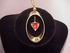 Gold Tone with Faux Ruby Necklace