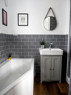 Our brand new bathroom renovation - Grey Subway tiles