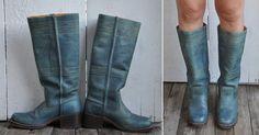Vintage FRYE Boots Teal Blue