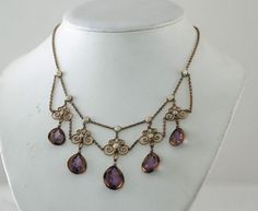 Antique Amethyst Glass and Fresh Water Pearl Festoon Necklace – from valerieivoryantiques on Ruby Lane