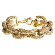 Large Gold Rhinestone Pavé Link Bracelet