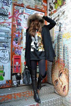 Serendipity2307, balenciaga, streetstyle, thigh high boots, bambi, givenchy, fur, london, shoreditch, fur hood, long hair, fashionista, it girls