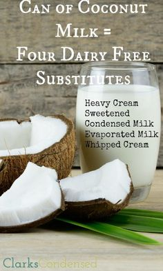 Four Great Dairy Free Substitutes Need a dairy free substitute? Coconut milk to the rescue! Here are four ways to use coconut milk to make substitutes for heavy cream, sweetened condensed milk, evaporated milk, and whipped cream! Lait Vegan, Whole Food Recipes, Cooking Recipes, Milk Recipes, Easy Recipes, Scd Recipes, Copycat Recipes, Potato Recipes, Vegetarian Recipes