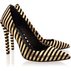 Rachel Zoe Ambrosia Foil Stripe Court Shoe ($150) ❤ liked on Polyvore featuring shoes, pumps, heels, gold, pointed heel pumps, high heel shoes, black pointed pumps, black pointy pumps y pointy pumps