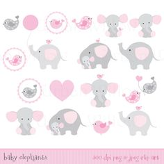 Baby elephants Cute Clipart elephant by LittlePumpkinsPix on Etsy
