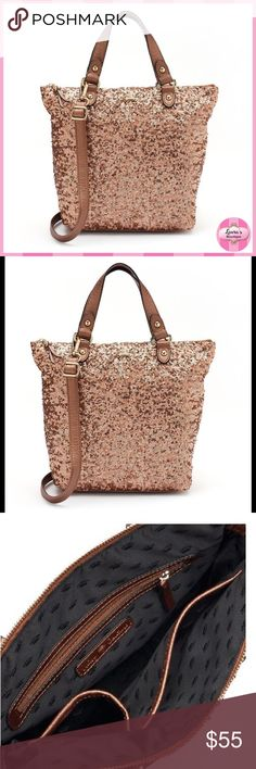 JUICY COUTURE Sequin Tote/Crossbody Bag {HP}NWT Juicy Couture rose gold sequin tote/crossbody will keep you stylish and organized on-the-go!  *PRODUCT FEATURES *Allover sequins *Gold-tone hardware 10''H x 12.75''W x 4''D *Approx. drop down length: 23'' *Drop down handle length: 5'' *Handles & adjustable/removable crossbody strap *Zipper closure *Interior: zip pocket & 2 slip pockets *Faux leather  *20% Bundle Discounts * No Trades * Smoke free Juicy Couture Bags Totes