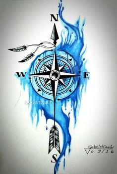 ▷ More than 142 inspiring Compass Tattoo ideas and pictures! - idea for . - ▷ More than 142 inspiring Compass Tattoo ideas and pictures! – Idea for a nice blue big tattoo - Compass Drawing, Compass Tattoo Design, Feather Tattoo Design, Feather Tattoos, Feather Art, Compass Rose Tattoo, Flower Tattoos, Large Tattoos, Trendy Tattoos