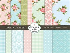 Vintage flower Digital Paper