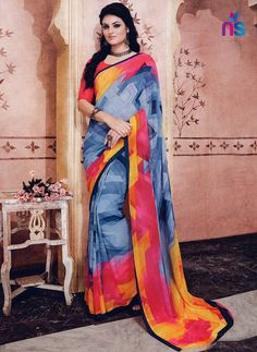 If you are a diva who loves to turn heads wherever you go and this delightful drape is a must have item for your closet. Get the simplicity and grace with this blue georgette casual saree. This lovely. Cotton Sarees Online Shopping, Saree Shopping, Sarees Online India, Silk Sarees Online, Casual Saree, Cotton Silk, Printed Cotton, Latest Sarees, Georgette Sarees