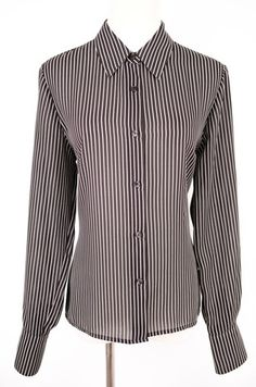 Apostraphe Striped Button Up Blouse Size 10 by Apostrophe | ClosetDash