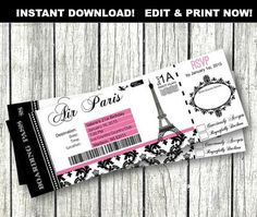 Airline Ticket Template Word Simple Airplane Party Printables Invitations & Decorations  Airplane .