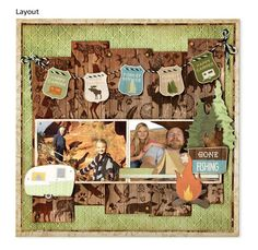 Gone Fishing scrapbook layout - Take A Hike collection by @bobunny
