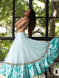 Then you're going to love this beautiful lehenga by Akanksha Gajria Indian Gowns Dresses, Indian Fashion Dresses, Indian Designer Outfits, Half Saree Designs, Lehenga Designs, Party Wear Lehenga, Party Wear Dresses, Long Gown Dress, The Dress