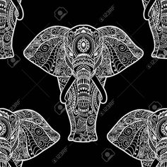 Card with Elephant. Frame of animal made in vector. Pattern Illustration for design, pattern, textiles. Hand drawn map with Elephant and mandala. Use for children clothes, pajamas Textiles, Textile Patterns, Vector Pattern, Pattern Design, Pattern Illustration, Children Clothes, Kids Outfits, How To Draw Hands, Elephant