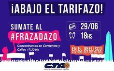 CONVOCAN A UN #FRAZADAZO EN TODO EL PAIS CONTRA EL AUMENTO SALVAJE DE TARIFAS   Llamamos a que toda la gente salga a la calle con una frazada y una vela para expresar su descontento contra estos tarifazos En el día de mañana se llevará a cabo el #Frazadazo a lo largo y ancho del país como una forma de manifestación de toda la ciudadanía contra los aumentos en los servicios de luz gas agua trasporte entre otros. En la ciudad de Buenos Aires se realizará una marcha con velas y frazadas a…