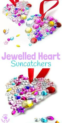 JEWELLED HEART SUNCATCHERS Are So Pretty! This Is An Easy Recycled Craft  For Kids And