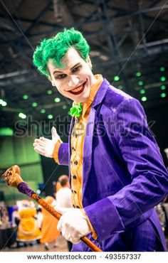 Sheffield, UK - June 11, 2016: Cosplayer dressed as the Joker character from 'Batman' at the Yorkshire Cosplay Convention at Sheffield Arena