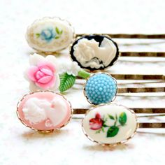 Vintage Cameo Collection of Bobby Pins SET by NestPrettyThingsShop, $30.00