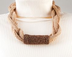 Handmade Crocheted Necklace. Crochet Accessories. Beige Brown Cotton Necklace With Gold Lurex Thread. Crocheted Jewelry