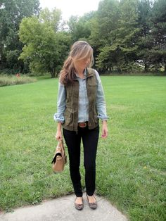 Army Vest outfit - adorable!  Love her style!  Ordered that vest from Old Navy!!