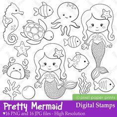 Mermaids and sea creatures -   Patrones